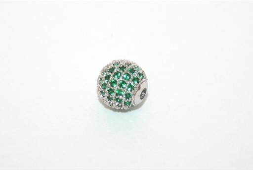 Cubic Zirconia Micro Pavè Beads Green 8mm
