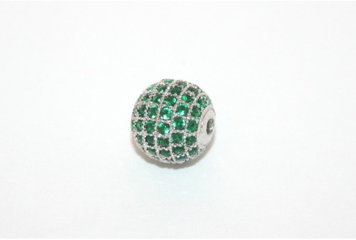 Cubic Zirconia Micro Pavè Beads Green 10mm
