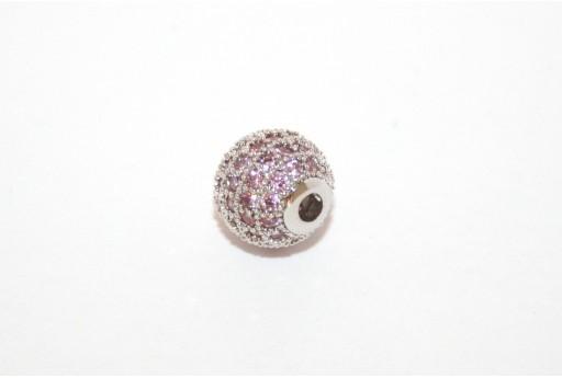 Cubic Zirconia Micro Pavè Beads Pink 8mm