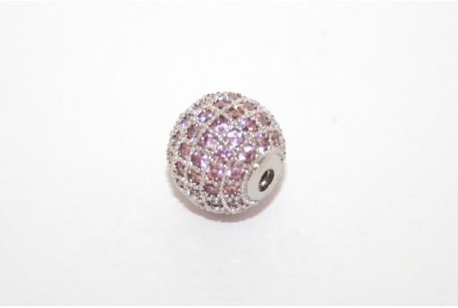 Cubic Zirconia Micro Pavè Beads Pink 10mm