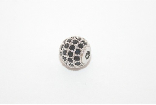 Cubic Zirconia Micro Pavè Beads Black 8mm