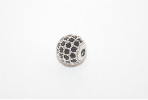 Cubic Zirconia Micro Pavè Tondo Nero 8mm