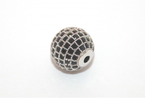 Cubic Zirconia Micro Pavè Beads Black 12mm