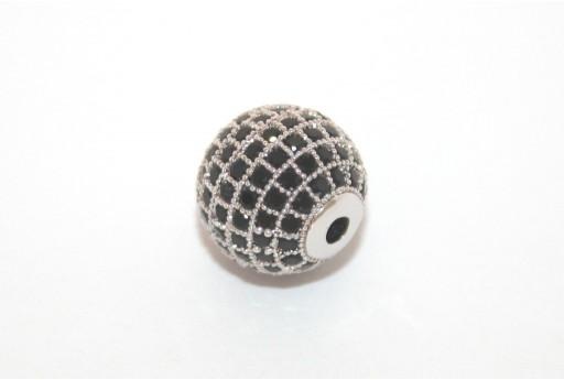Cubic Zirconia Micro Pavè Tondo Nero 12mm