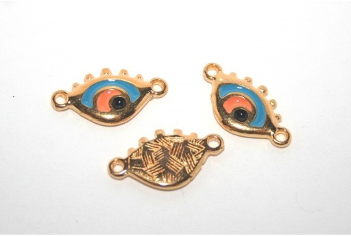 Gold Plated Enameled Eye Link Blue 14x11mm - 1pcs