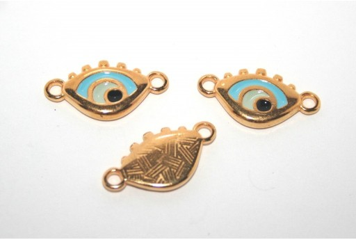 Gold Plated Enameled Eye Link Light Blue 14x11mm - 1pcs