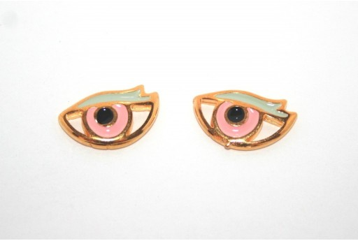 Gold Plated Enameled Eye Link Pink 17x11mm - 1pcs