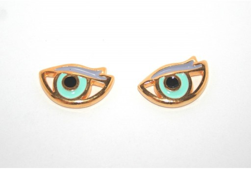 Gold Plated Enameled Eye Link Green 17x11mm - 1pcs