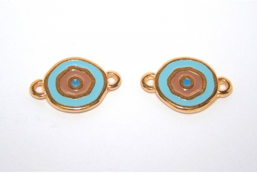 Gold Plated Enameled Eye Link Coin Aqua 15mm - 1pcs