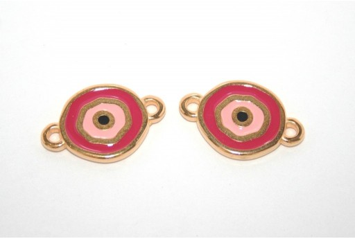 Gold Plated Enameled Eye Link Coin Magenta 15mm - 1pcs