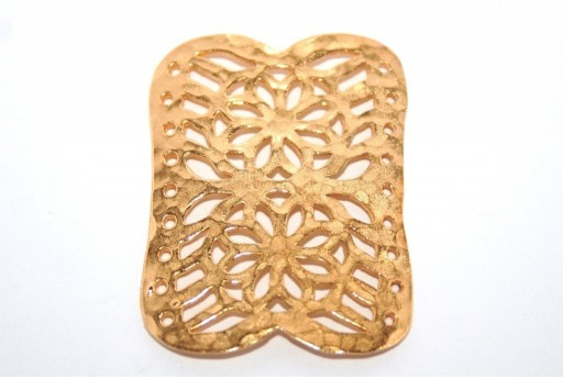 Gold Plated Rectangle Flower 9 Strands Link 40x30mm - 1pcs