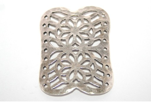 Silver Plated Rectangle Flower 9 Strands Link 40x30mm - 1pcs