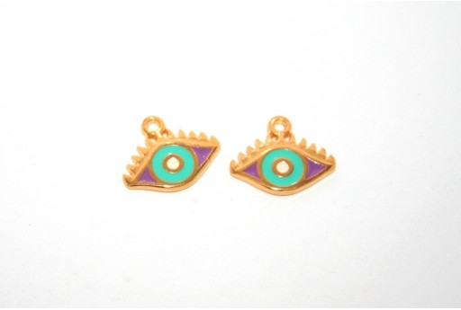 Gold Plated Enameled Eye Charm Purple 14x9mm - 1pcs