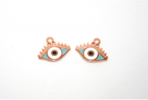 Rose Gold Plated Enameled Eye Charm Light Blue 14x9mm - 1pcs