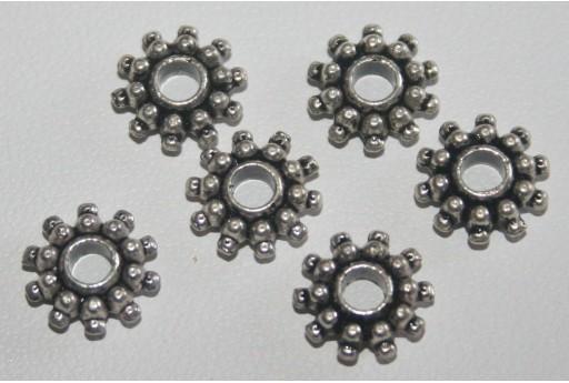 10 Rondelle Argento Tibetano 9x3mm TIB23