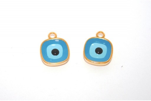 Gold Plated Enameled Eye Charm Square Blue 10mm - 1pcs