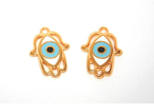 Gold Plated Enameled Eye Charm Hamsa Hand Blue 20x16mm - 1pcs