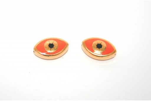 Gold Plated Enameled Eye Beads Oval Orange 15x9mm - 1pcs