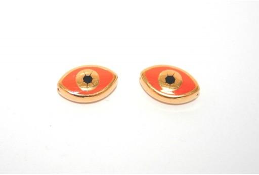 Perlina Occhio Smaltato Ovale Dorato Arancio 15x9mm - 1pz