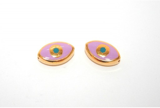 Gold Plated Enameled Eye Beads Oval Purple 15x9mm - 1pcs