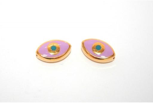 Perline Occhio Smaltato Ovale Dorato Viola 15x9mm - 1pz