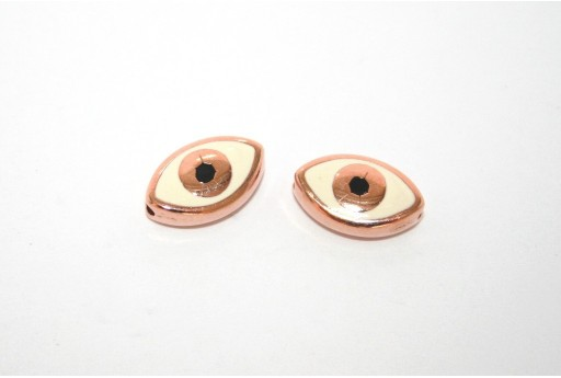 Rose Gold Plated Enameled Eye Beads Oval White 15x9mm - 1pcs