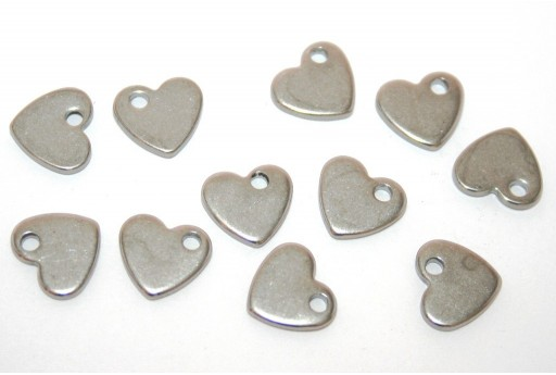 Stainless Steel Heart Charms 10x9mm -5pcs