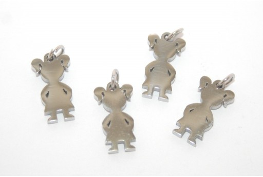 Stainless Steel Girl Charms 16x9mm -1pcs