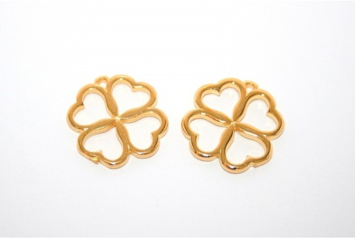 Flower with Hearts Frame Pendant Gold 20x22mm -2pcs