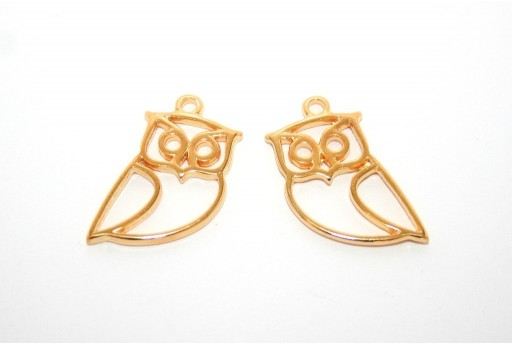 Owl Wireframe Pendant Gold 17x25mm -2pcs