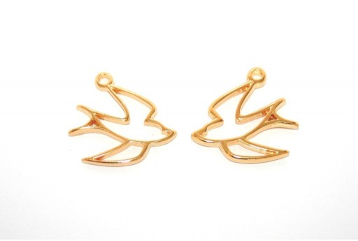 Swallow Wireframe Pendant Gold 19x20mm -2pcs