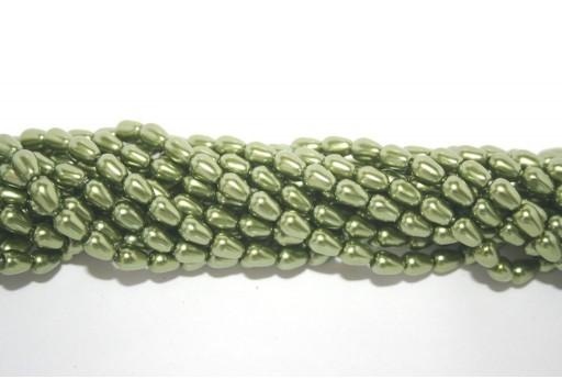 Perline Teardrop Green Apple 5x7mm - 36pz