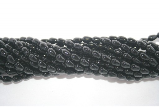 Teardrop Pearls Black 5x7mm - 36pcs