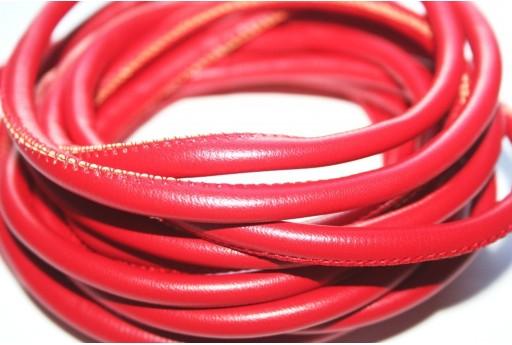 Cordoncino di Cuoio Sintetico Tondo Rosso 5mm - 2mt