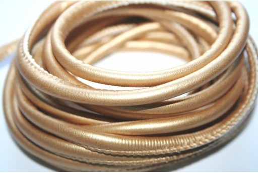 Cordoncino di Cuoio Sintetico Tondo Oro 5mm - 2mt