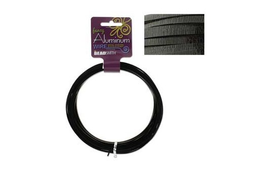 Aluminum Wire Flat Emboss Black 3x1mm - 12mtr