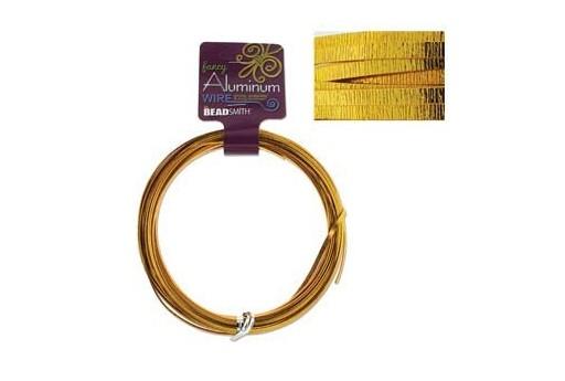 Aluminum Wire Flat Emboss Gold 3x1mm - 12mtr