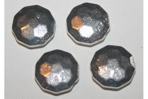 5 Pasticche Sfaccettate Argento Tibetano 12mm TIB41
