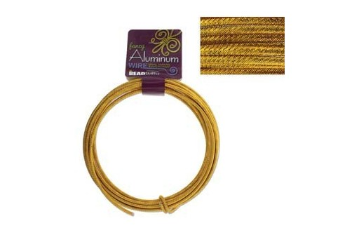 Aluminum Wire Embossed Round Gold 3mm - 5mtr