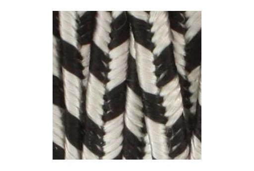 Piattina Soutache in Rayon Silver Grey-Black 3mm - 5mt