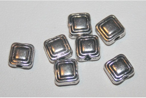 18 Quadrati Argento Tibetano 6x6mm TIB49