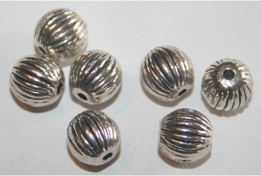 Tibetan Silver Round Spacer Beads 8mm - 8pcs