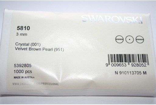 Swarovski Elements Pearls 5810 Velvet Brown 3mm - Pack 1000pcs