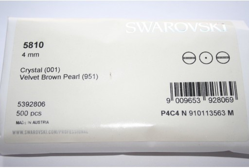 Swarovski Elements Pearls 5810 Velvet Brown 4mm - Pack 500pcs
