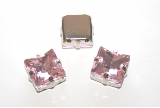 Square Glass Rhinestone Montee Beads Pink 12x12mm - 2pcs