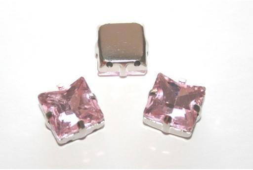 Perline Strass Quadrate Montee Rosa 12x12mm - 2pz