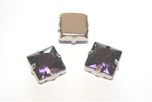Square Glass Rhinestone Montee Beads Purple 12x12mm - 2pcs