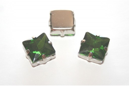 Square Glass Rhinestone Montee Beads Green 12x12mm - 2pcs