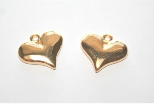 Heart Pendant Gold 16x14mm -2pcs