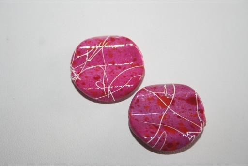 10 Perle Acrilico Fuchsia Pasticca Ondulata 25mm RES35R